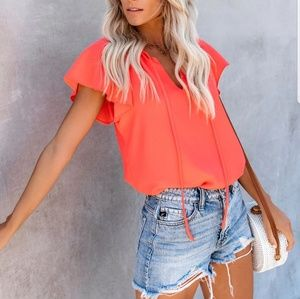 Vici Collection All A Flutter Coral Top